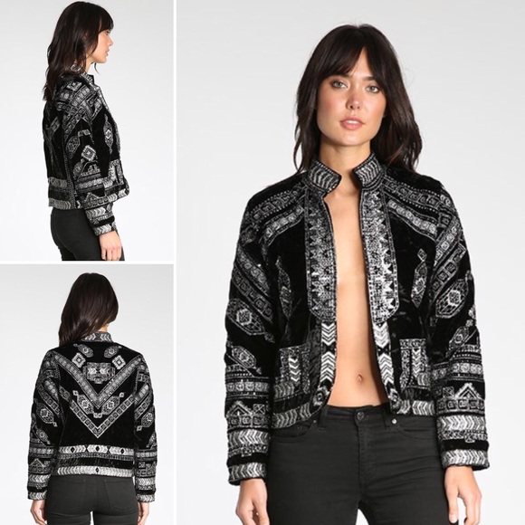 RAGA Jackets & Blazers - Raga Lunar Eclipse Black Velour Beaded Jacket szS